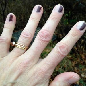 Sharpie manicure to encourage proper LH hand position.